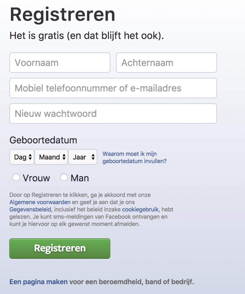 Registreren op Facebook
